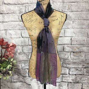 Boutique Silk and Rayon Watercolor Beaded Scarf